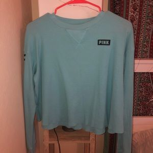 blue cropped pink long sleeve